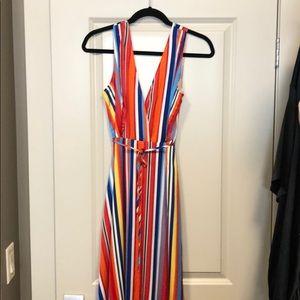 Long deep v-neck bright striped dress